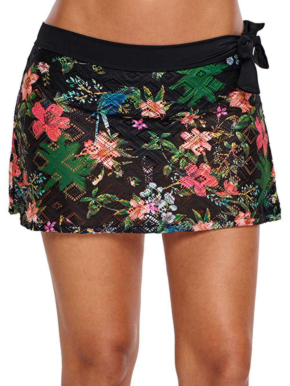 Hot Floral Print Swim Skirt