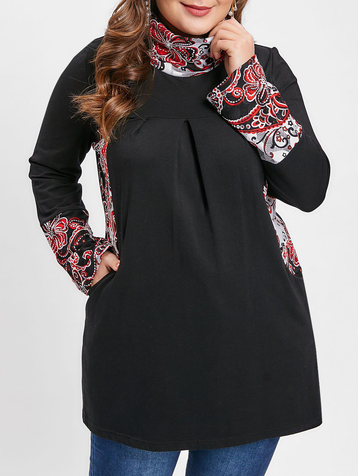 Plus Size Ethnic Print Splicing T-shirt, Black