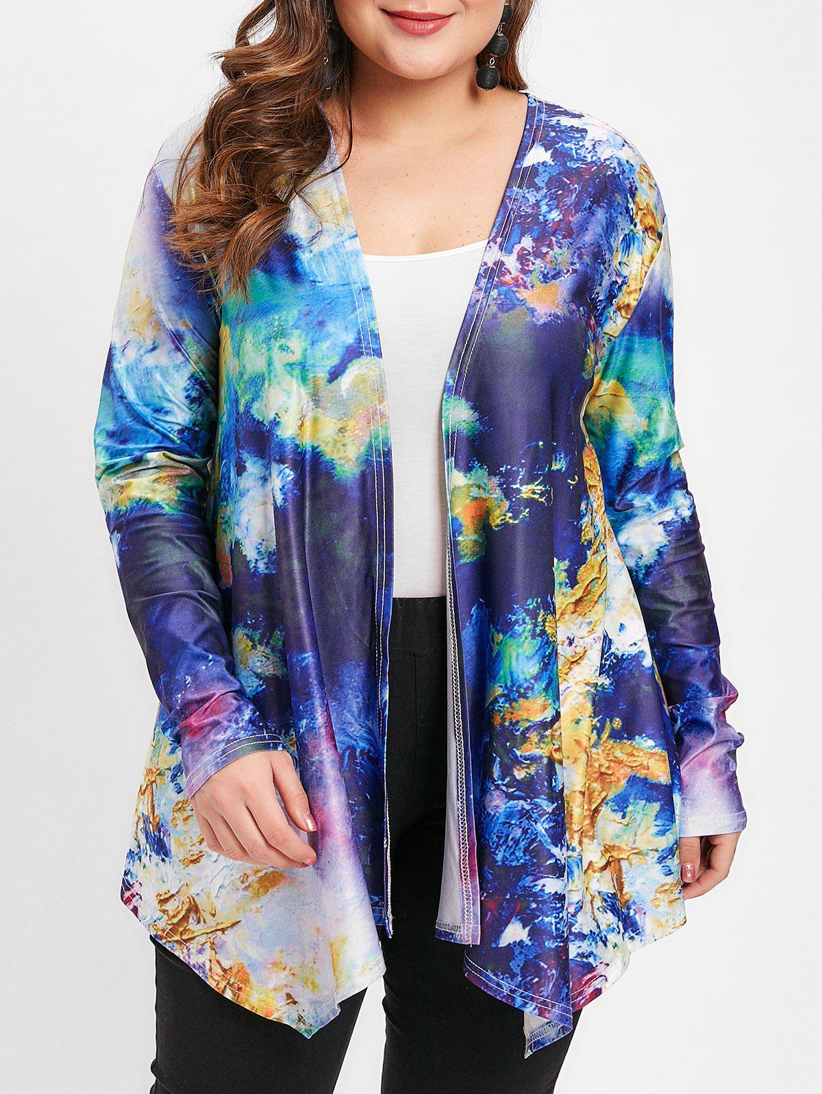 Outfit Abstract Pattern Plus Size Open Front Jacket