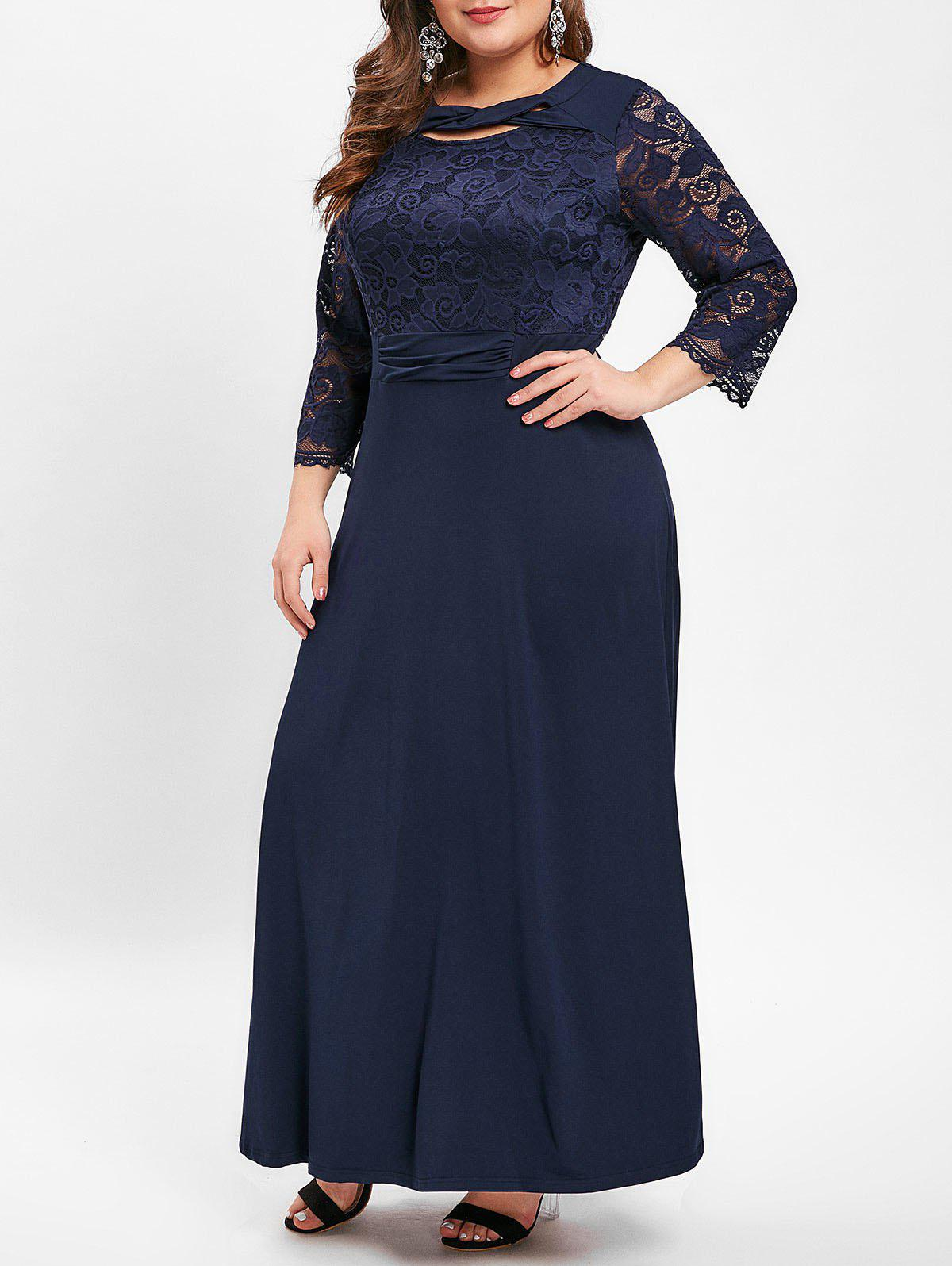 Trendy Plus Size Lace Panel Cut Out Maxi Dress