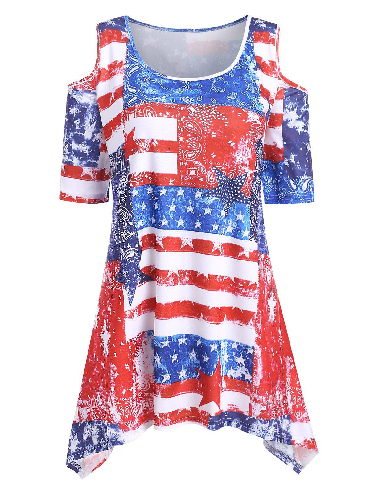 Shops Plus Size American Flag Open Shoulder T Shirt
