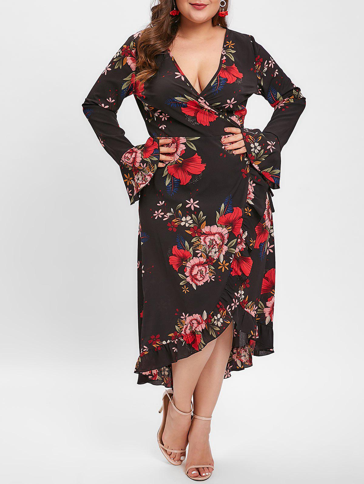 Buy Plus Size Bell Sleeve Floral Ruffled Midi Dress