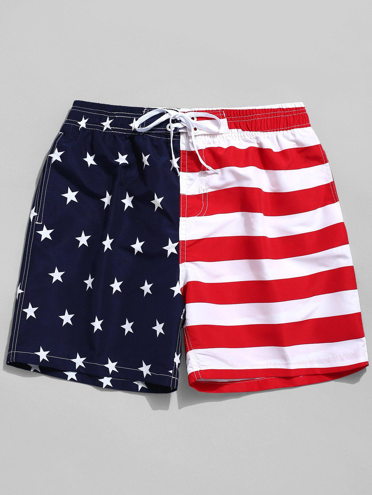 Shop American Flag Print Elastic Board Shorts