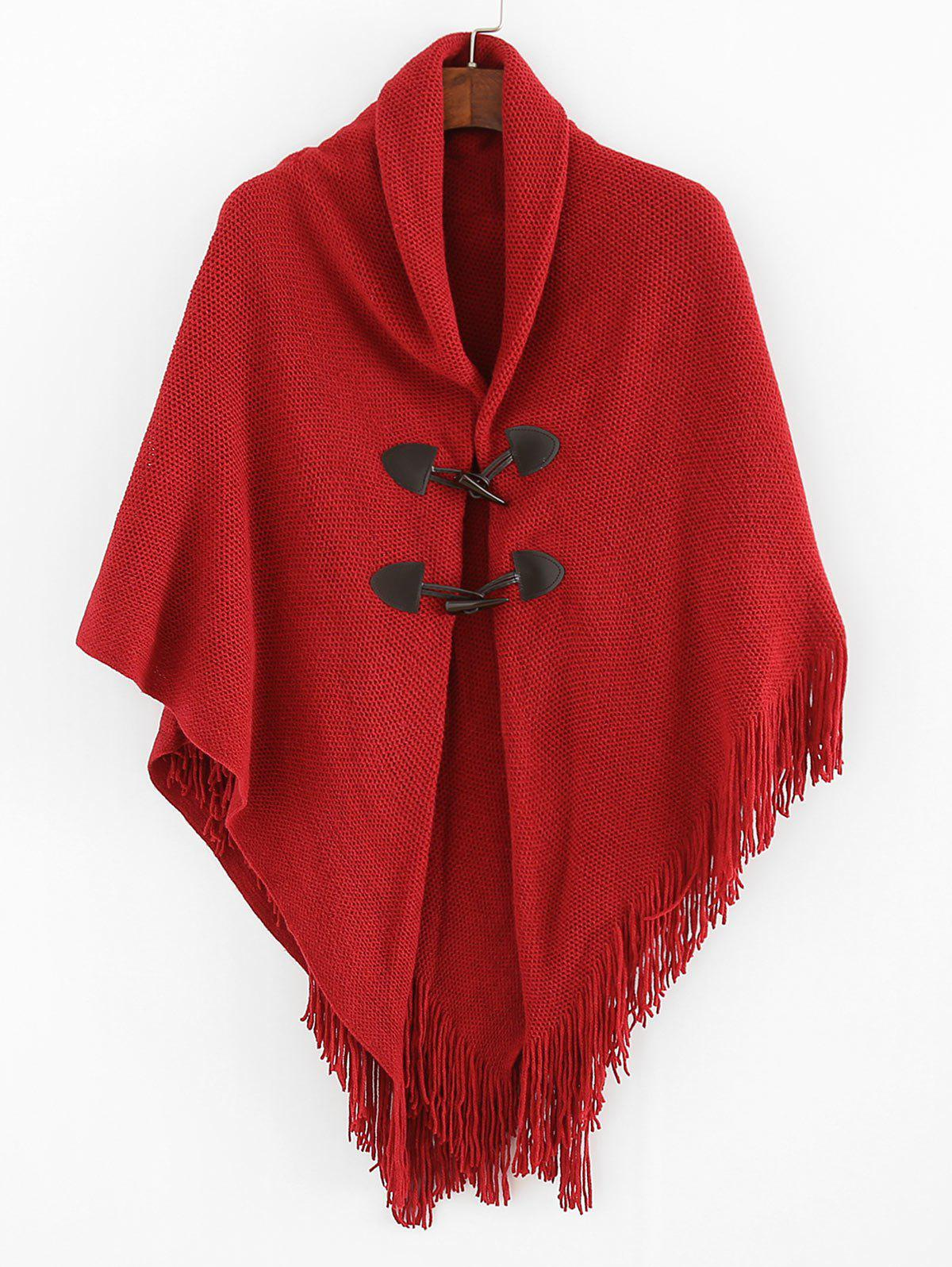 Latest Buttons Fringe Solid Cape