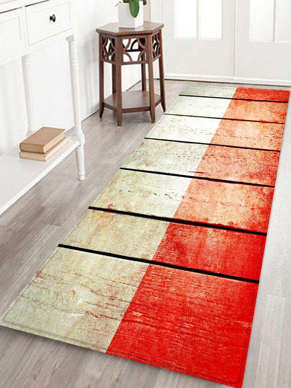 Buy Two Tone Wooden Board Print Flannel Area Rug