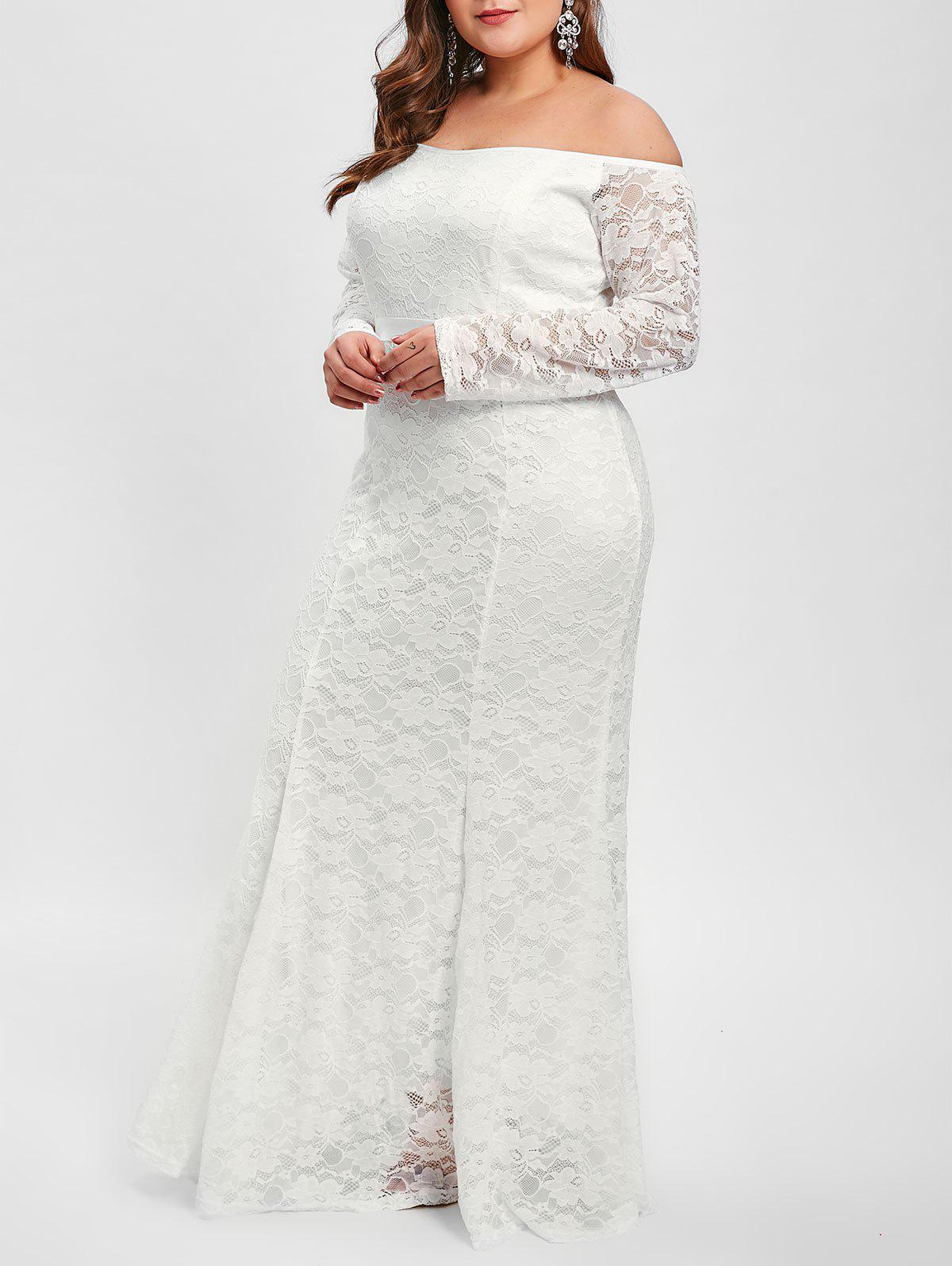 Outfits Long Sleeve Plus Size Lace Maxi Dress