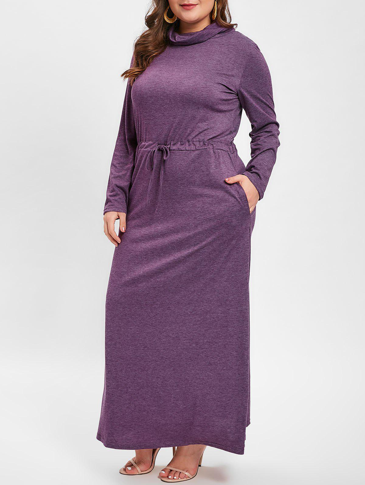 New Cowl Neck Plus Size Drawstring Waist Maxi Dress