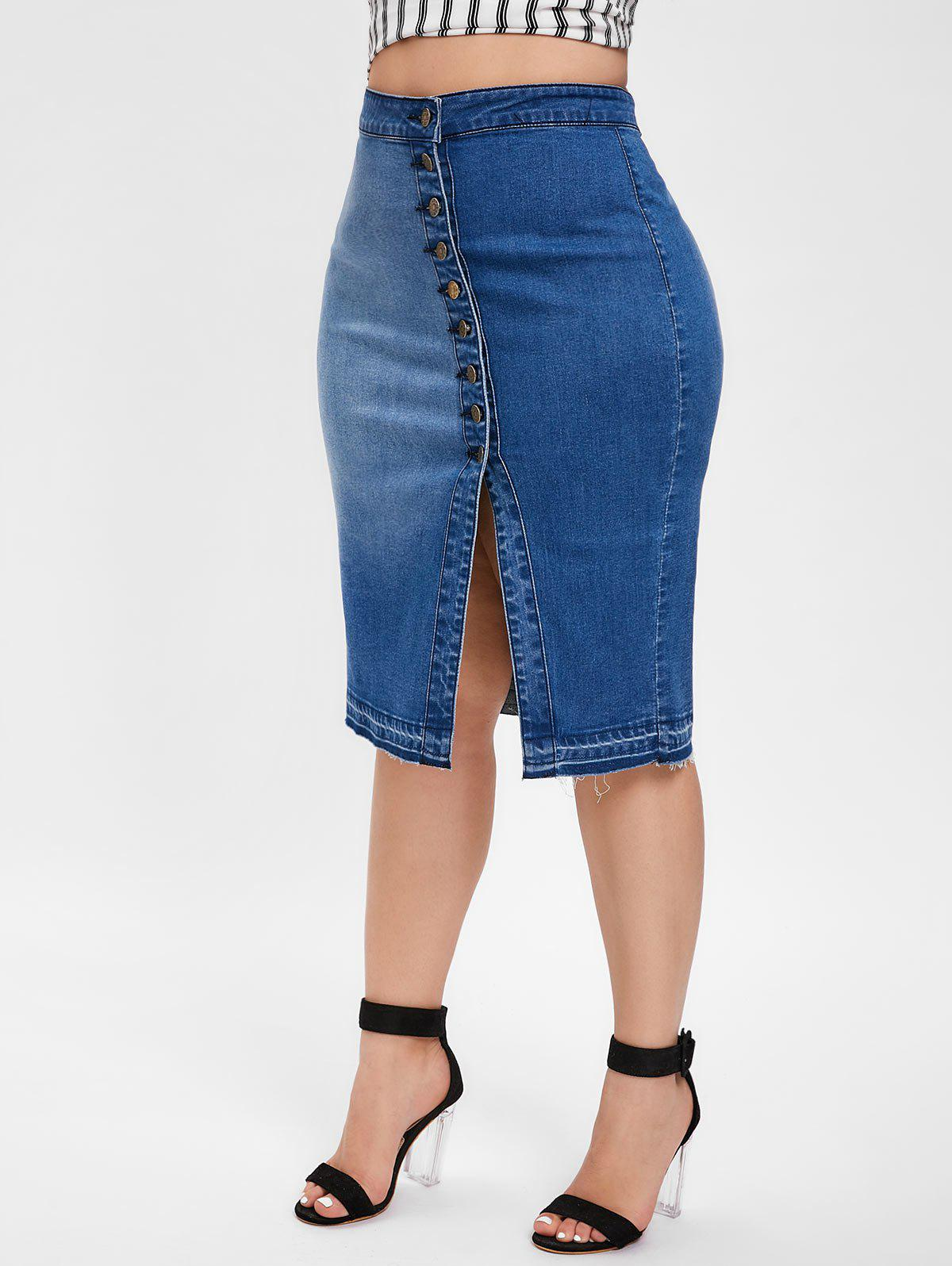 7b39c9ff4ce75 2019 Plus Size Button Front High Waist Denim Skirt