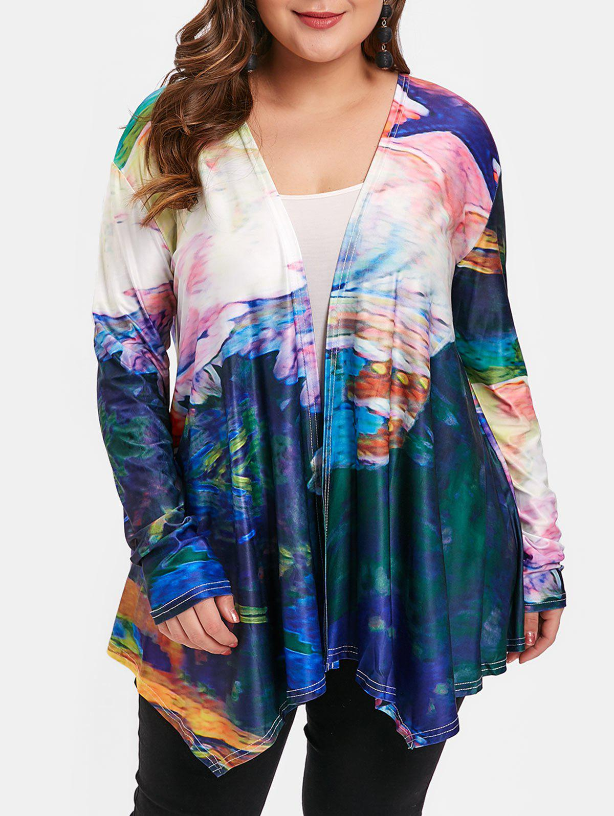 Latest Open Front Plus Size Tie Dye Jacket