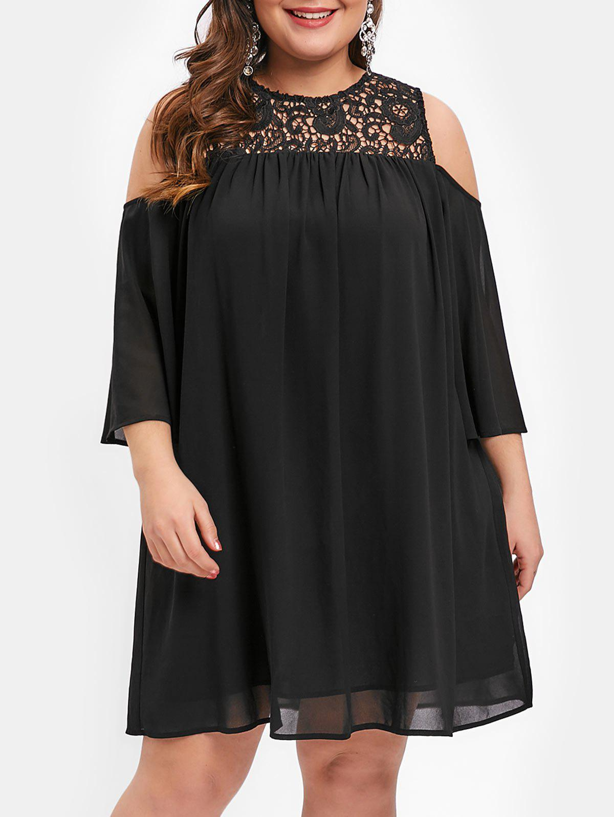 Plus Size Half Sleeve Lace Insert Cold Shoulder Dress