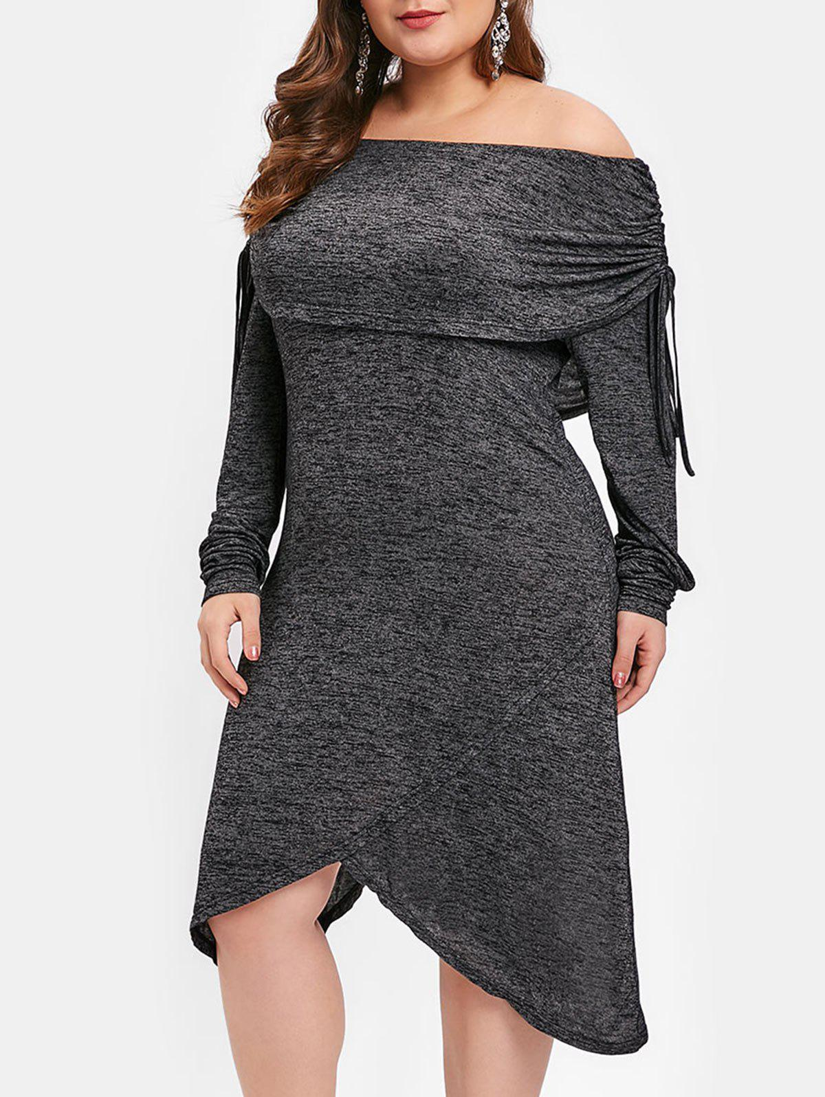1b4bed8c10 44% OFF] Plus Size Cinched Long Sleeves Asymmetric Dress | Rosegal