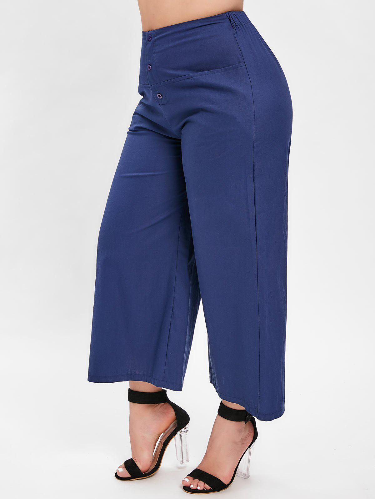 Outfit Plus Size Button Embellished Wide Leg Pants
