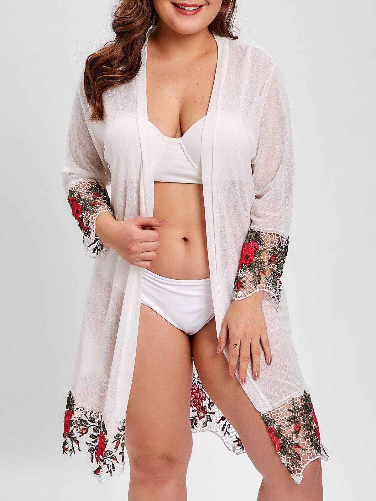 Shop Floral Embroidery Plus Size Open Front Cover Up