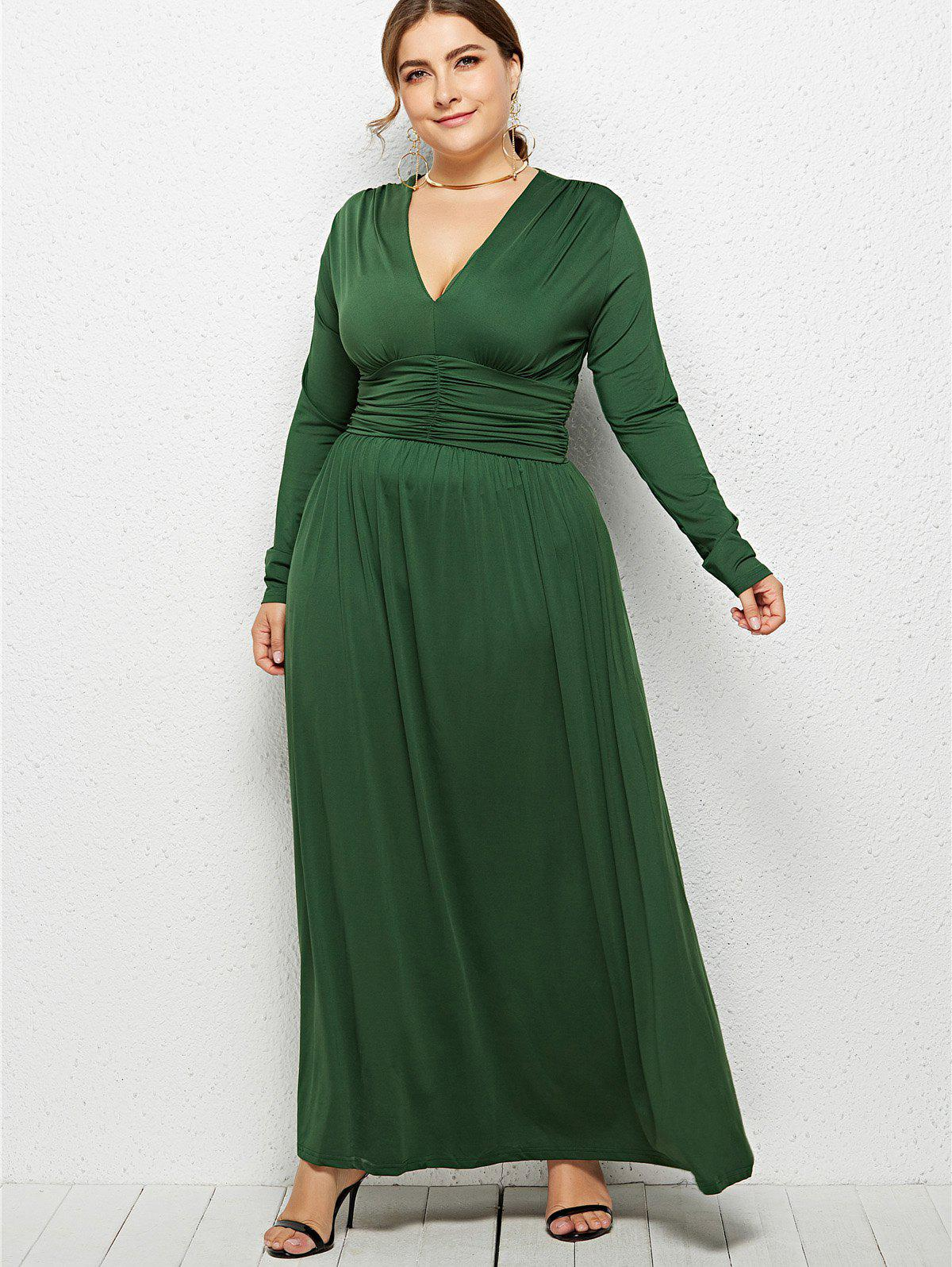 Buy Plunge Plus Size Empire Waist Maxi Dress