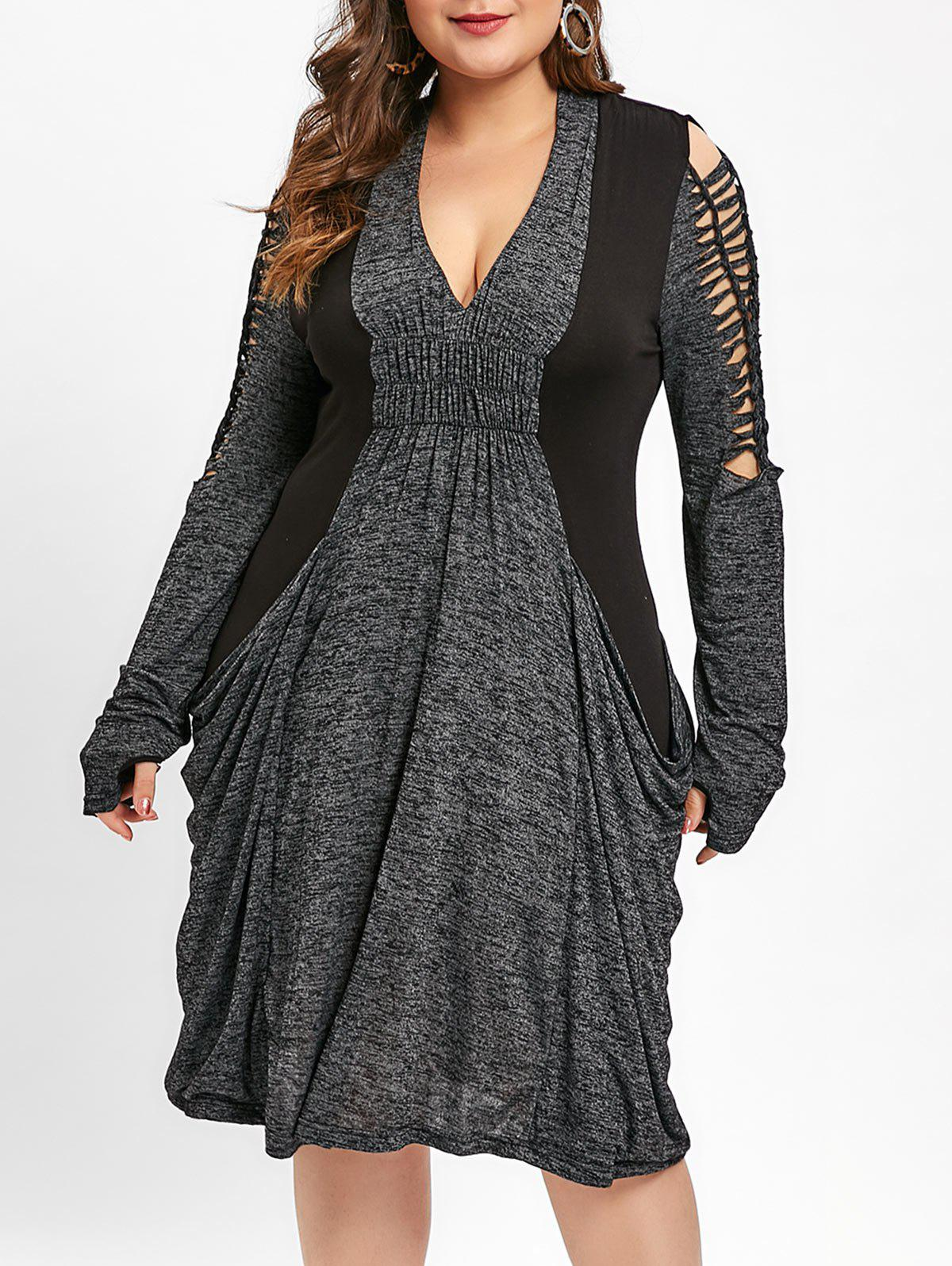 Online Ladder Cut Out Marled Baggy Dress