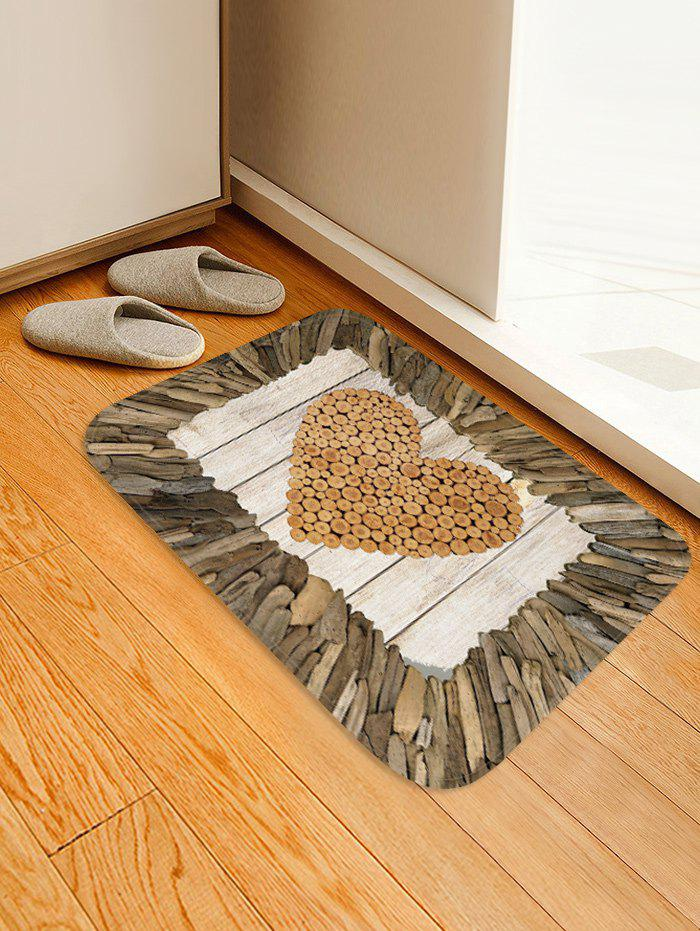 Cheap Wooden Heart Print Flannel Area Rug
