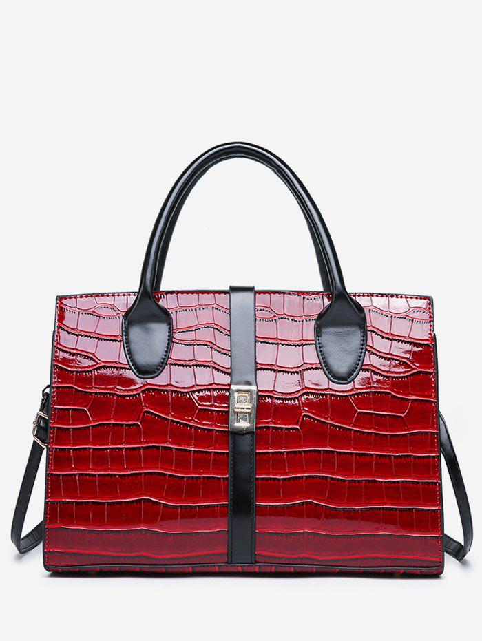 Online Striped Leather Glossy Pattern Tote