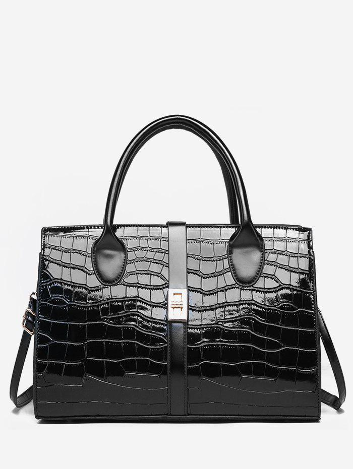 Best Striped Leather Glossy Pattern Tote