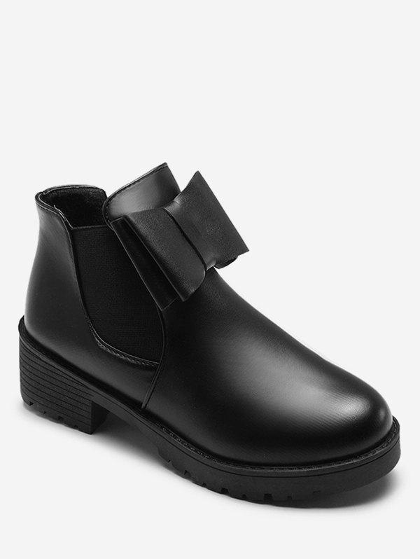 Sale Chunky Heel PU Short Boots with Bowknot