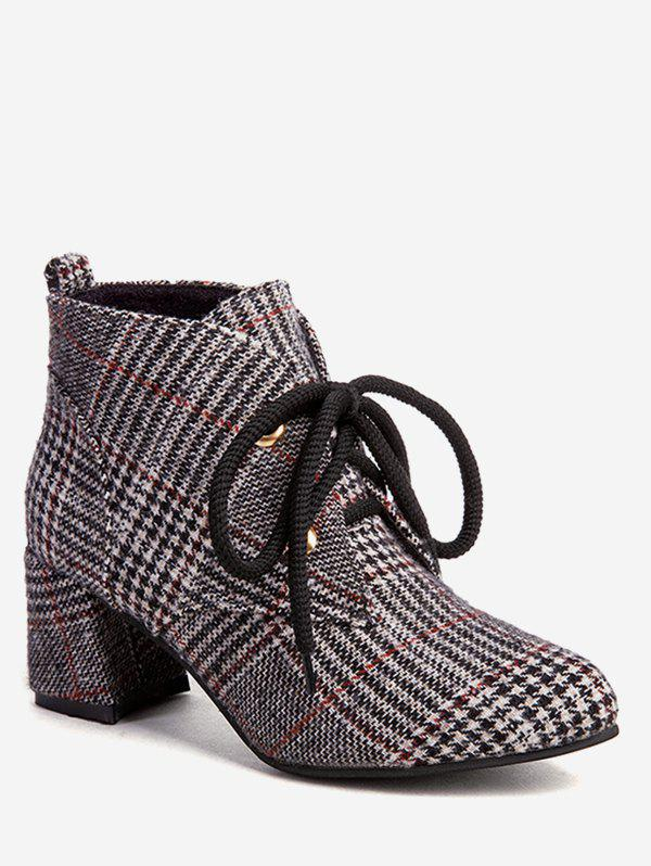 Unique Chunky Heel Plaid Ankle Boots
