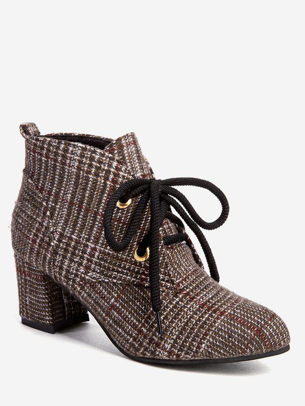 Best Chunky Heel Plaid Ankle Boots