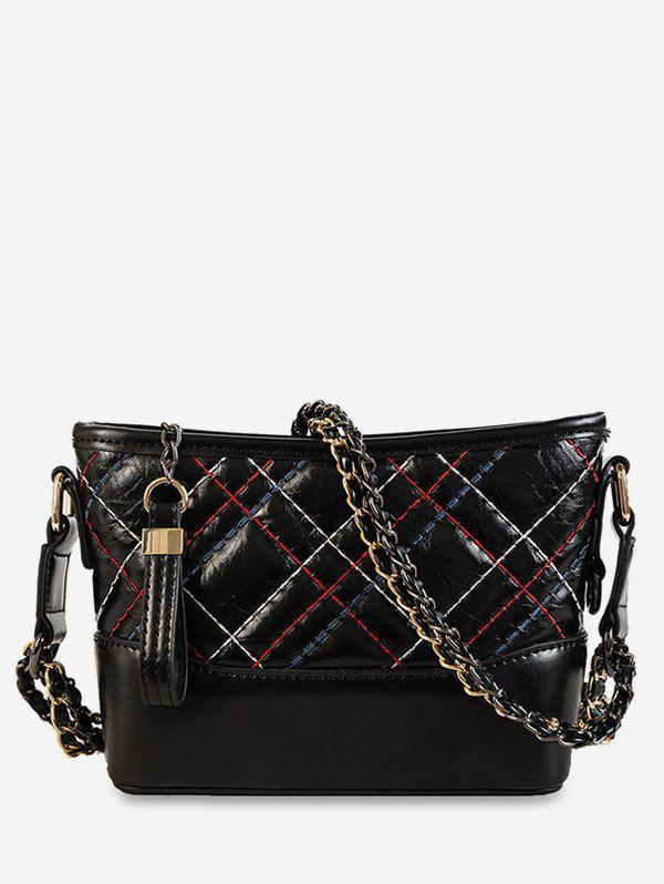 6170dbcaa509 Latest Chain Grid Leather Shoulder Bag