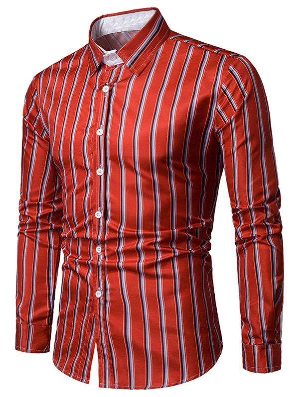 Online Striped Print Long Sleeves Casual Shirt