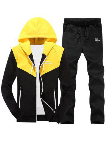 Colorblock Zipper Hooded Fleece Jacket Pants Sports Suit
