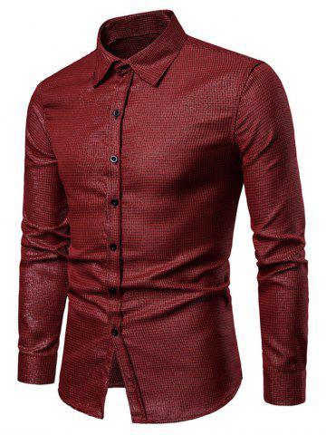Checked Print Bling Button Up Long Sleeve Shirt