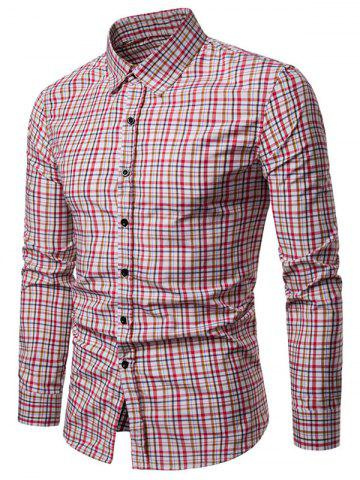 Checked Print Turndown Collar Button Up Shirt - WATERMELON PINK - XS