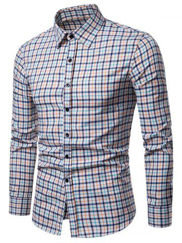 Long Sleeve Plaid Printed Button Up Casual Shirt - TIGER ORANGE - XS