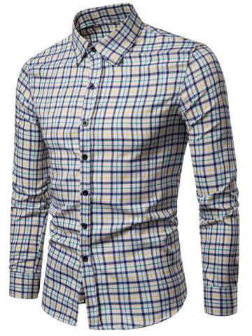 Long Sleeve Plaid Printed Button Up Casual Shirt