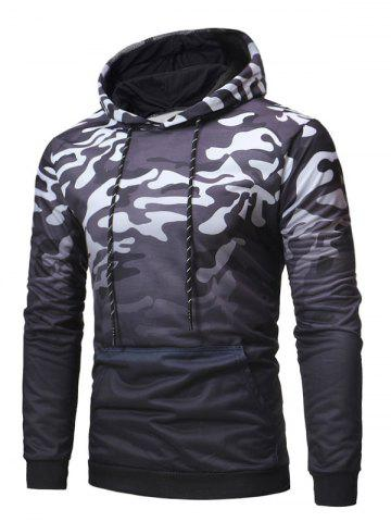 Camo Print Loose Pouch Pocket Hoodie