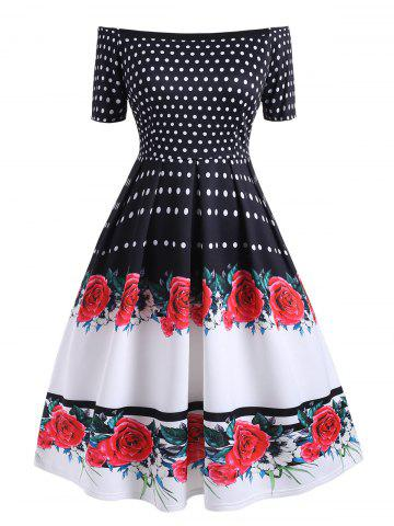 Plus Size Polka Dot Flower Off Shoulder Vintage Dress