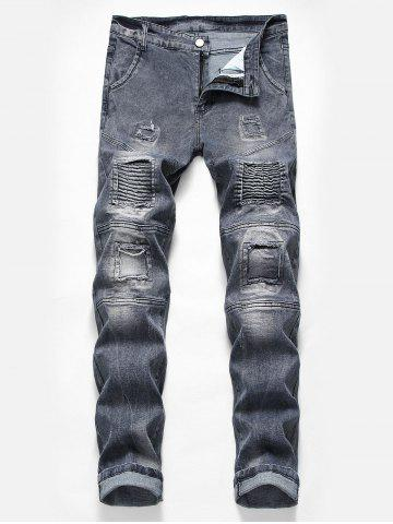 Casual Pleated Patchwork Washed Biker Jeans