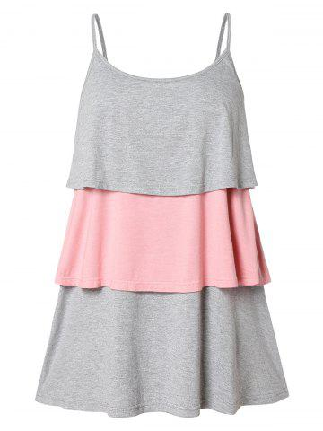 Plus Size Two Tone Tiered Tank Top