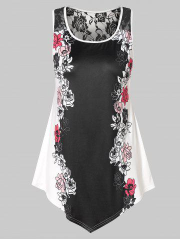 Plus Size Floral Tank Top with Lace - BLACK - 2X