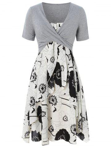 Plus Size Print Layered Midi Dress With Criss Cross Crop Top - GRAY - 2X