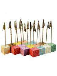 10 Pcs Colorful Wood Base Clip Table Number Holders -