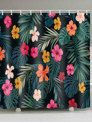 Flowers Leaves Print Shower Curtain -