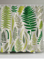 Fern Leaf Print Waterproof Shower Curtain -