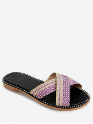 Striped Crisscross Strap Slippers -