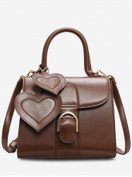 Square Leather Heart Shape Design Handbag -