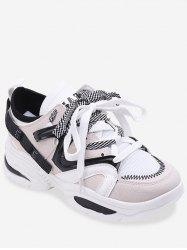 Color Block Patchwork Lace Up Sneakers -