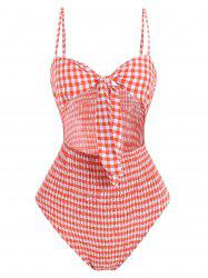 Tie Front Gingham Shirred Bodysuit -