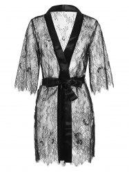 Satin Lace Sheer Lingerie Robe With Belt -