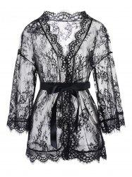 Lace See Through Lingerie Robe -