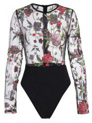 Floral Embroidered Mesh Bodysuit -