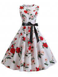 Floral Print A Line Dress with Belt -