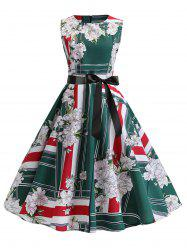 Floral Striped A Line Dress avec ceinture -